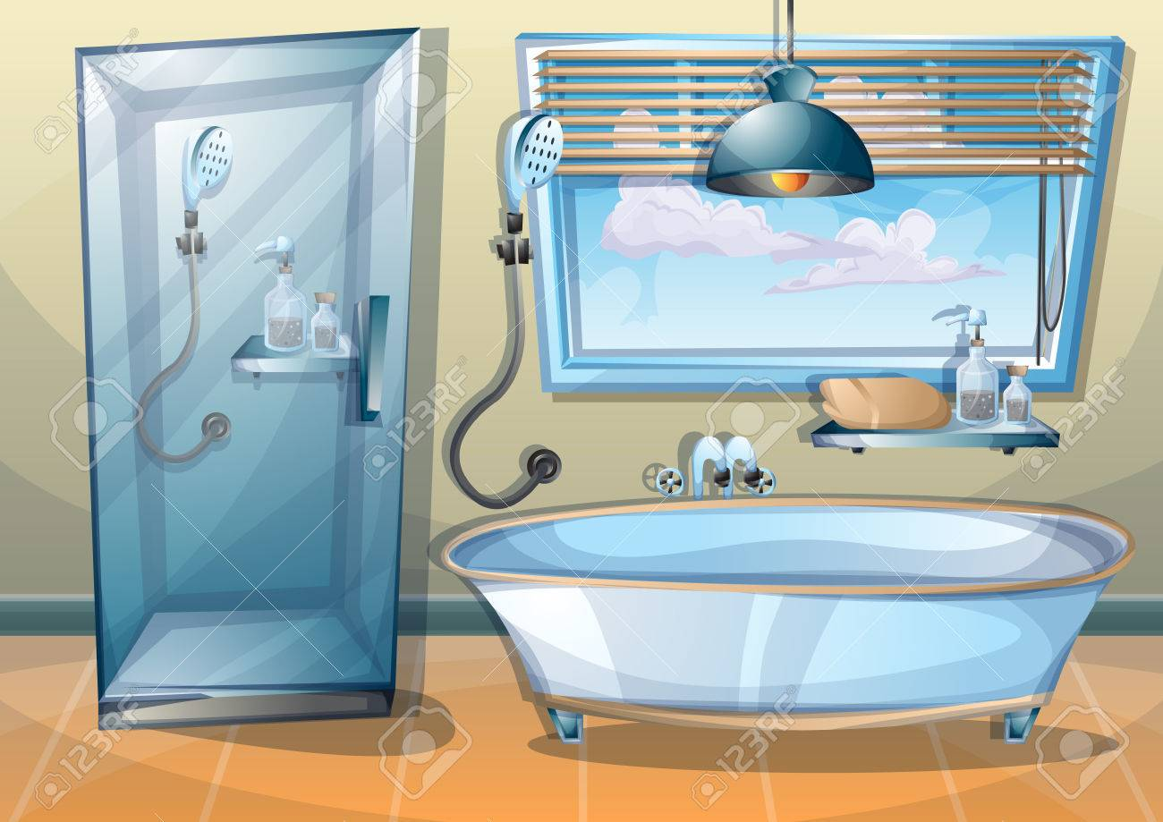 Cartoon Vector Illustration Interior Bathroom With Separated ...
