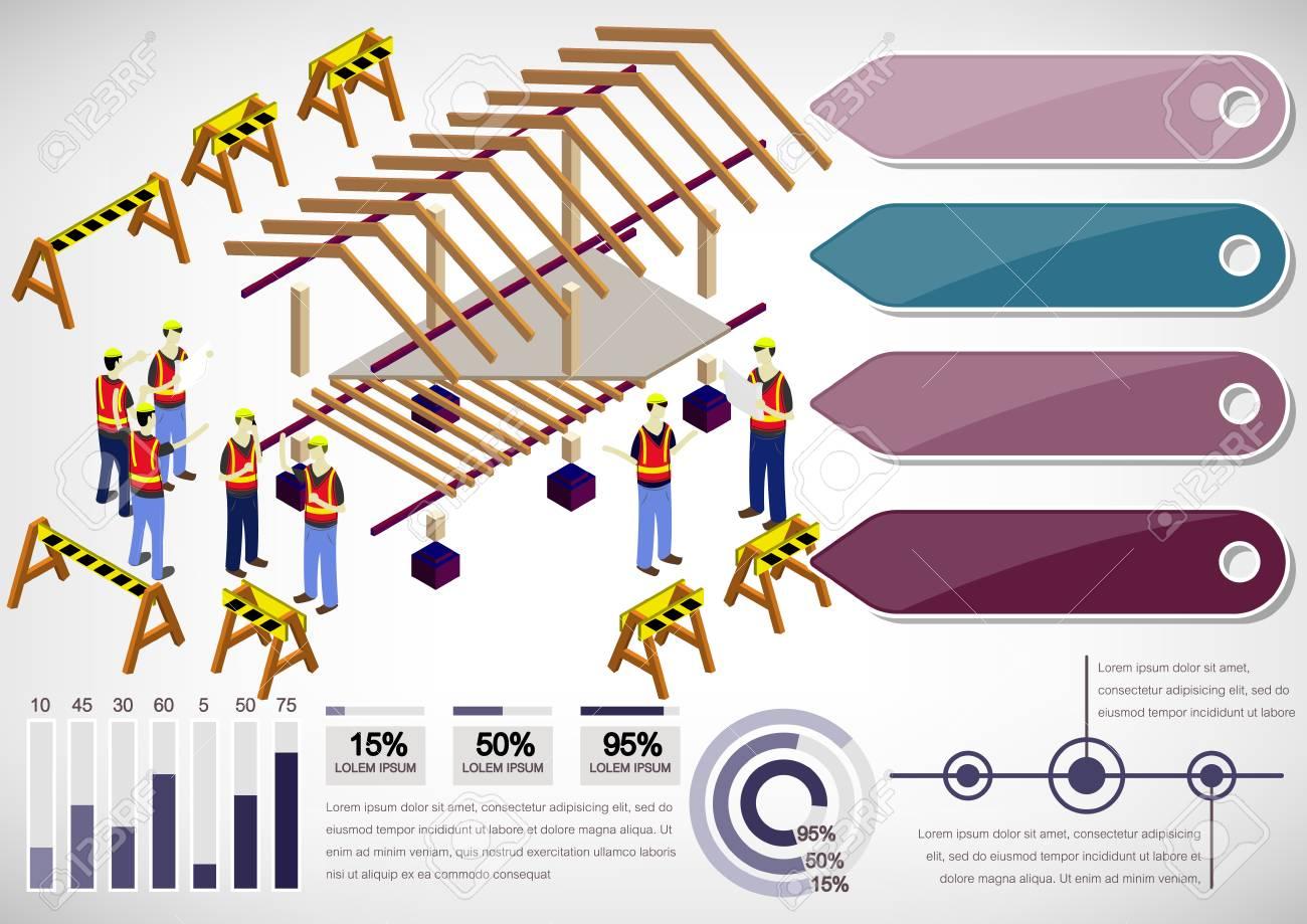 Ilustración De Información Estructura De La Casa Gráfico Concepto En Gráfica Isométrica