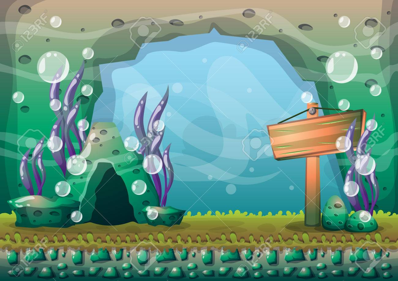 cartoon underwater background with separated layers for game art and animation game design asset in 2d graphic - 66839126