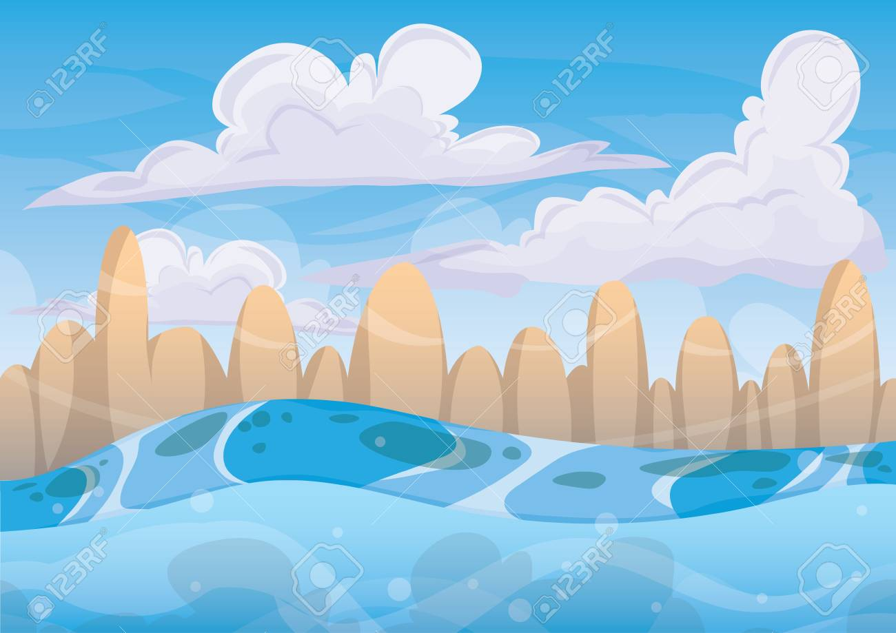 cartoon sea background with separated layers for game art and