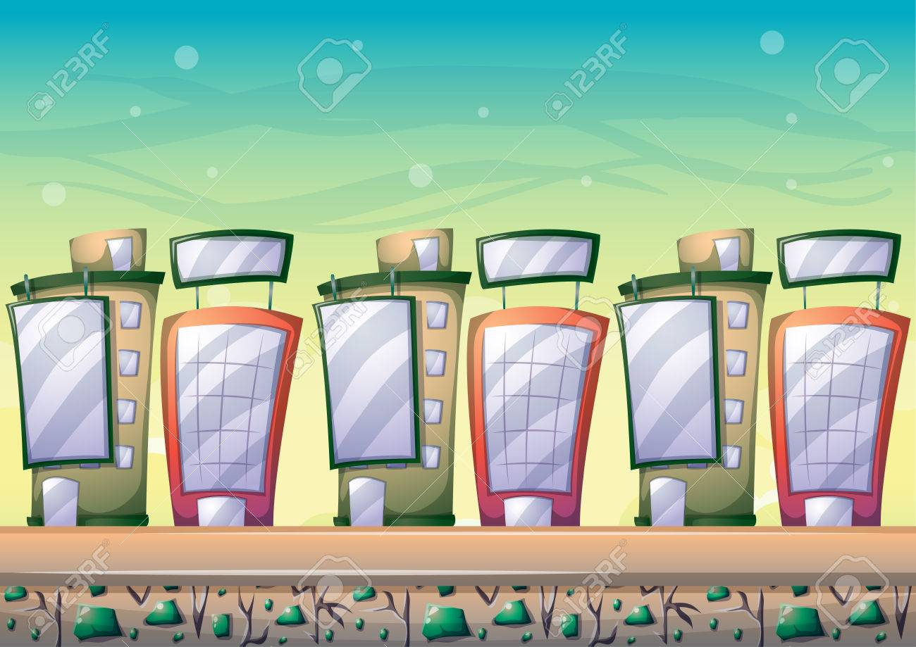 Cartoon Building Background With Separated Layers For Game Art - 2d game design