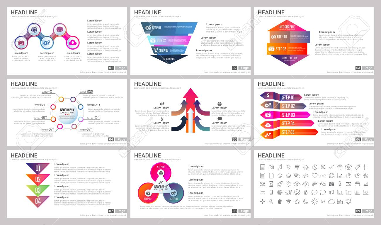 Modern Elements of infographics for presentations templates for banner, poster, flyer - 90473558