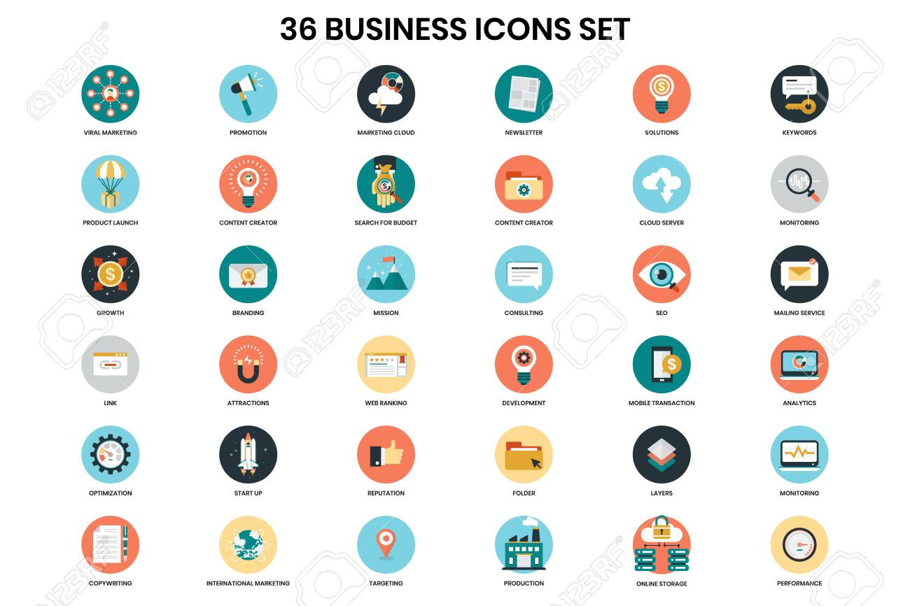 Business icons set for business, marketing, management - 122989643