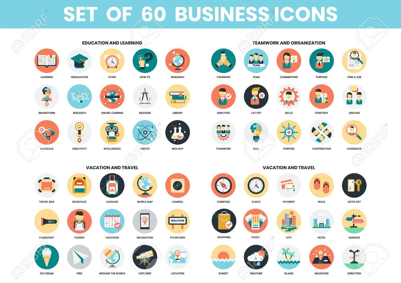 Business icons set for business, marketing, management - 129069110