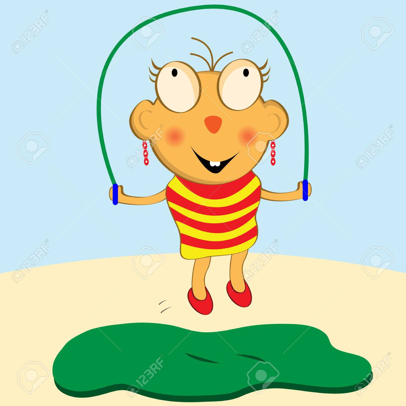 Cartoon girl having fun with her skipping rope Stock Vector - 4667119