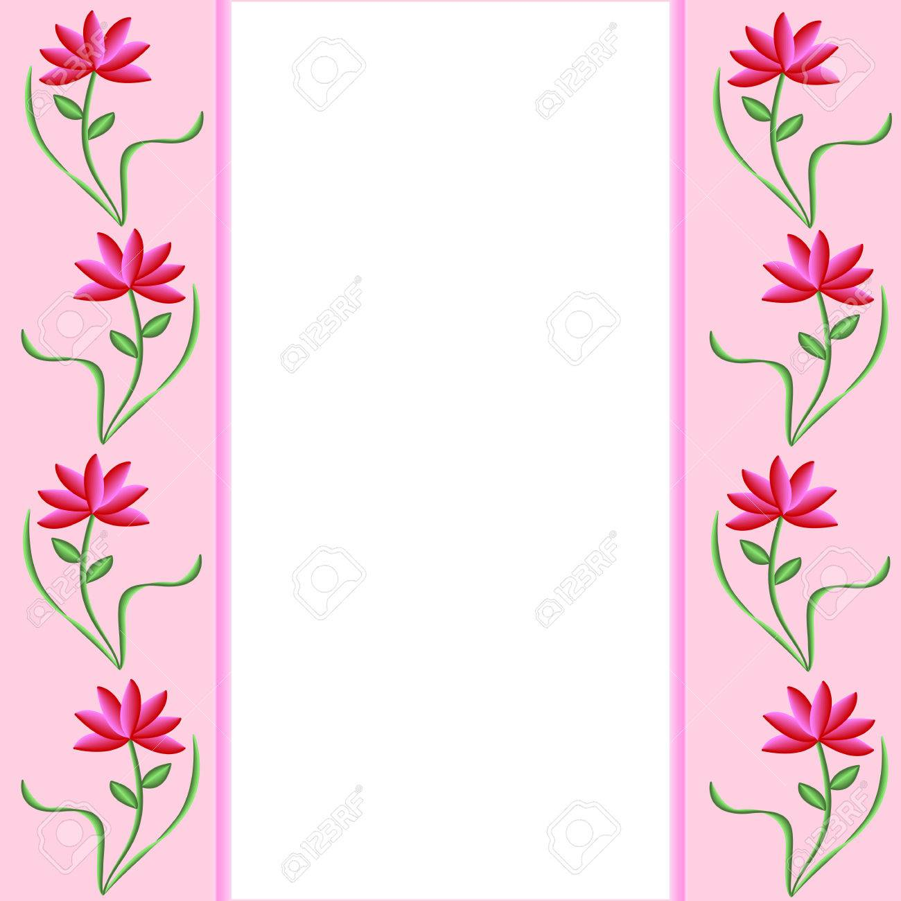 Pink borders with pretty pink and red flowers white background pink borders with pretty pink and red flowers white background stock vector 4824541 mightylinksfo
