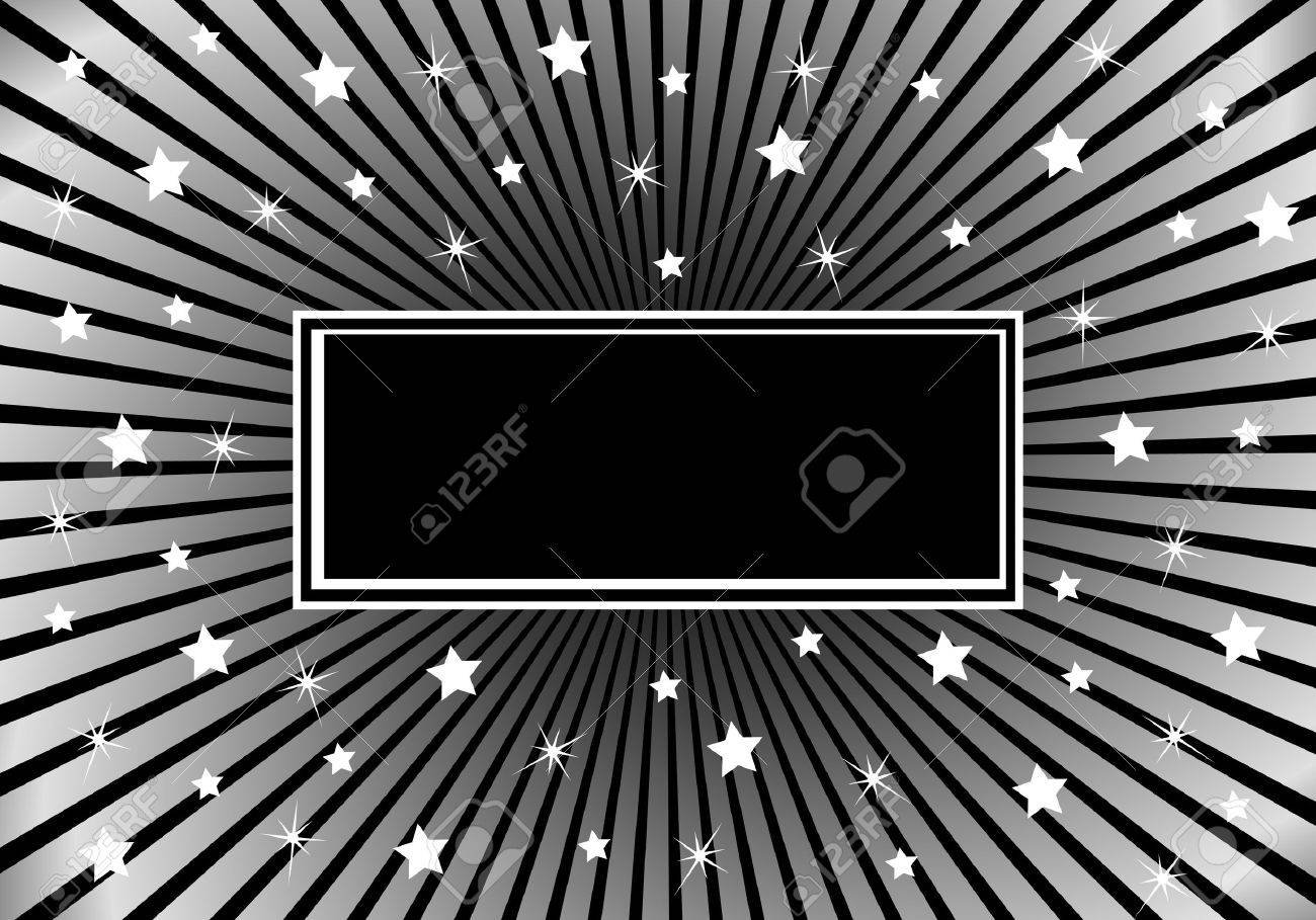 Black and silver sunburst background with various white stars giving a celebration feel to the design. Space to add copy text Stock Vector - 5354755