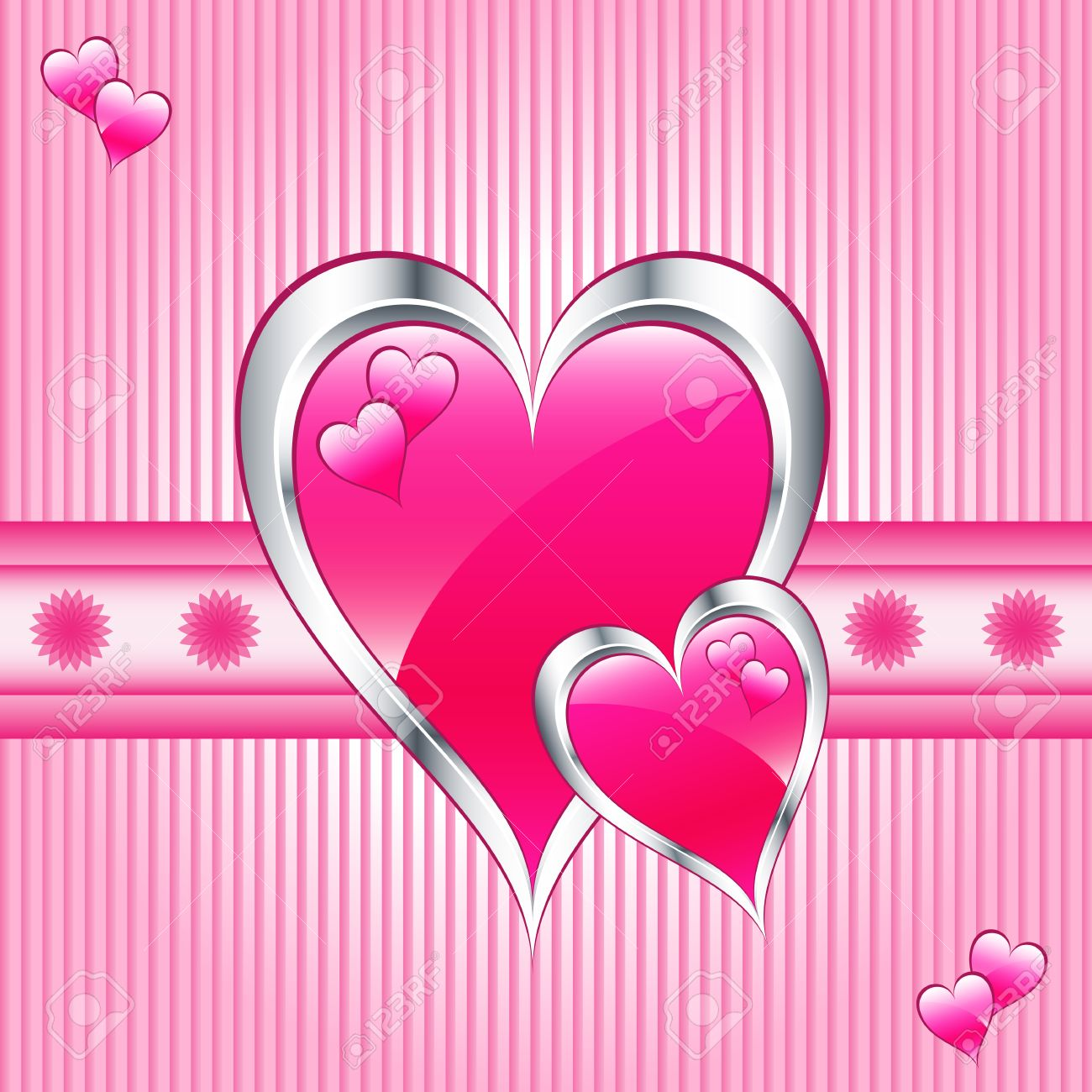 Valentines or mothers day pink hearts symbolizing love. Striped pink background with flowers. Stock Vector - 6515290