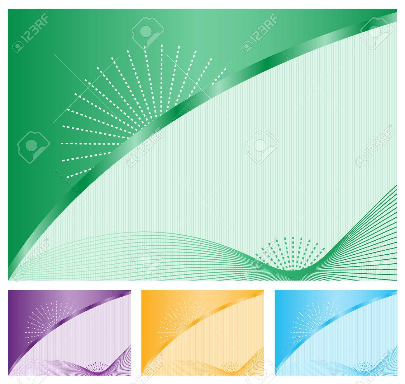 Abstract backgrounds with decorative elegant wavy lines, sunbursts, subtle striped background and copy space to add text. Choice of 4 colors. Stock Vector - 7231962