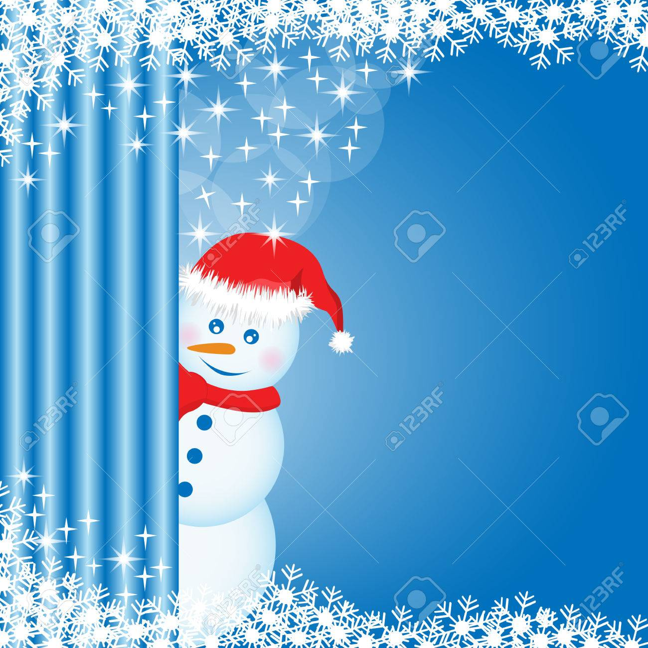 Snowman peeping behind a curtain, snowflakes and stars on blue xmas background. Copy space for text. Stock Vector - 7864410