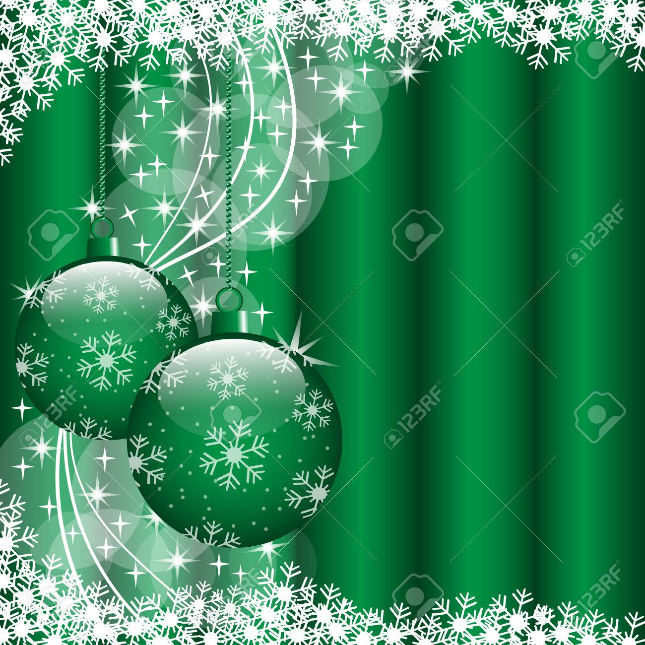 Christmas scene with hanging ornamental green xmas balls, snowflakes and stars. Copy space for text. Stock Vector - 7962109