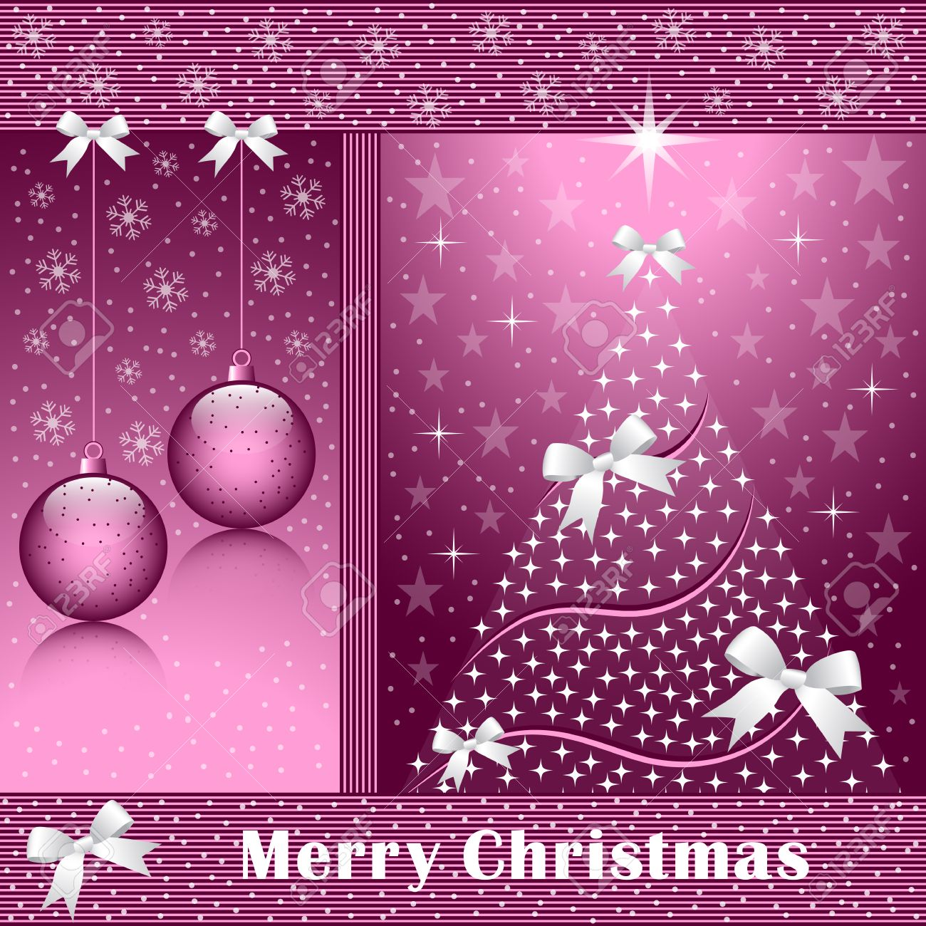 Christmas tree, balls, bows, stars, snowflakes and snow on a rose colored background. Stock Vector - 8093914