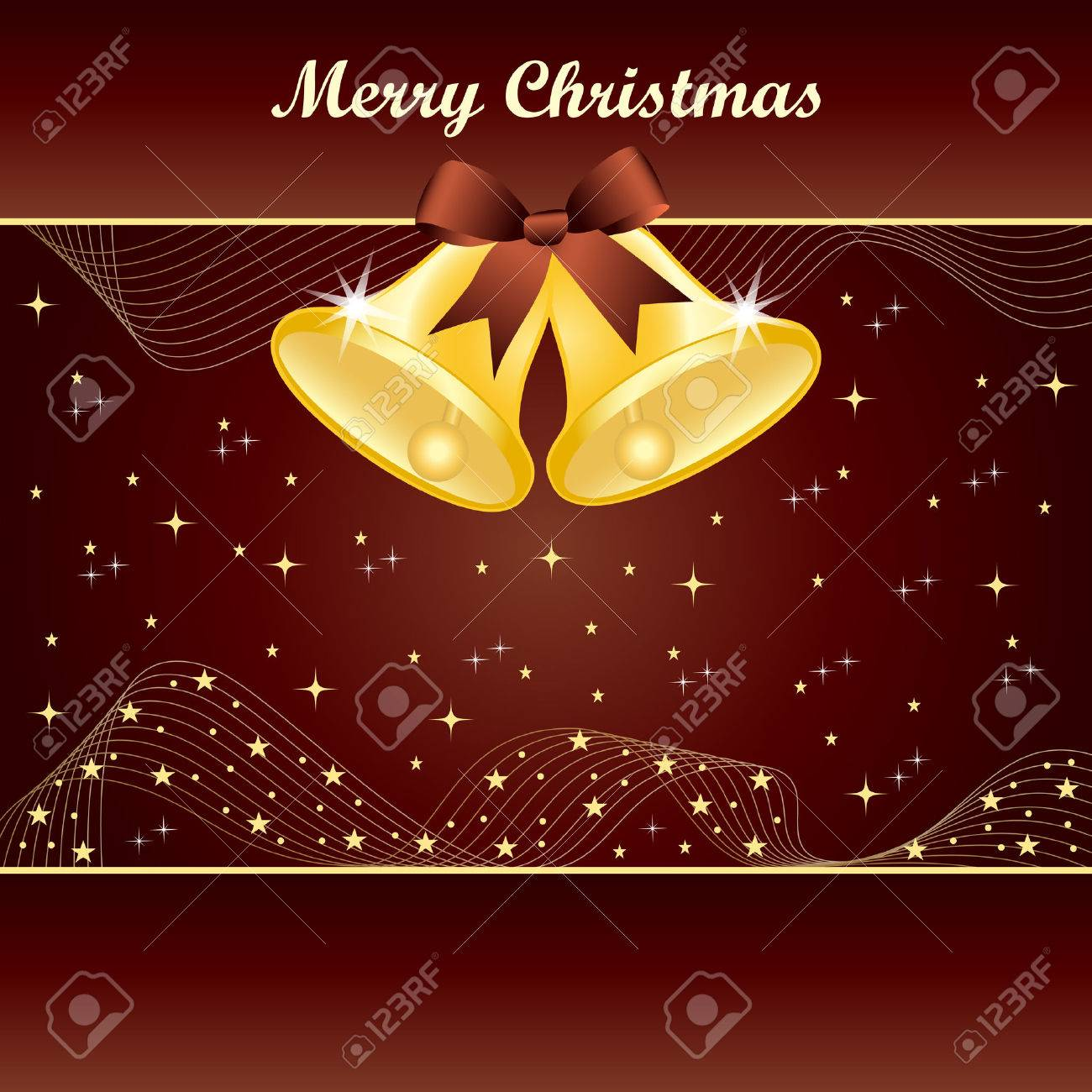 Gold christmas bells with pretty bow and yellow stars on dark brown background. Copy space for text. Stock Vector - 8093921