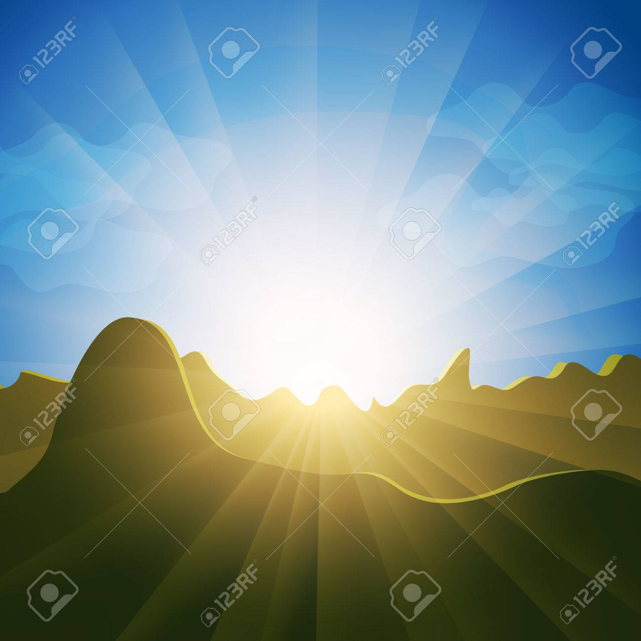 Sunburst rays shining over mountain range. Picturesque view of landscape on a sunny day with blue sky. Stock Vector - 8828814