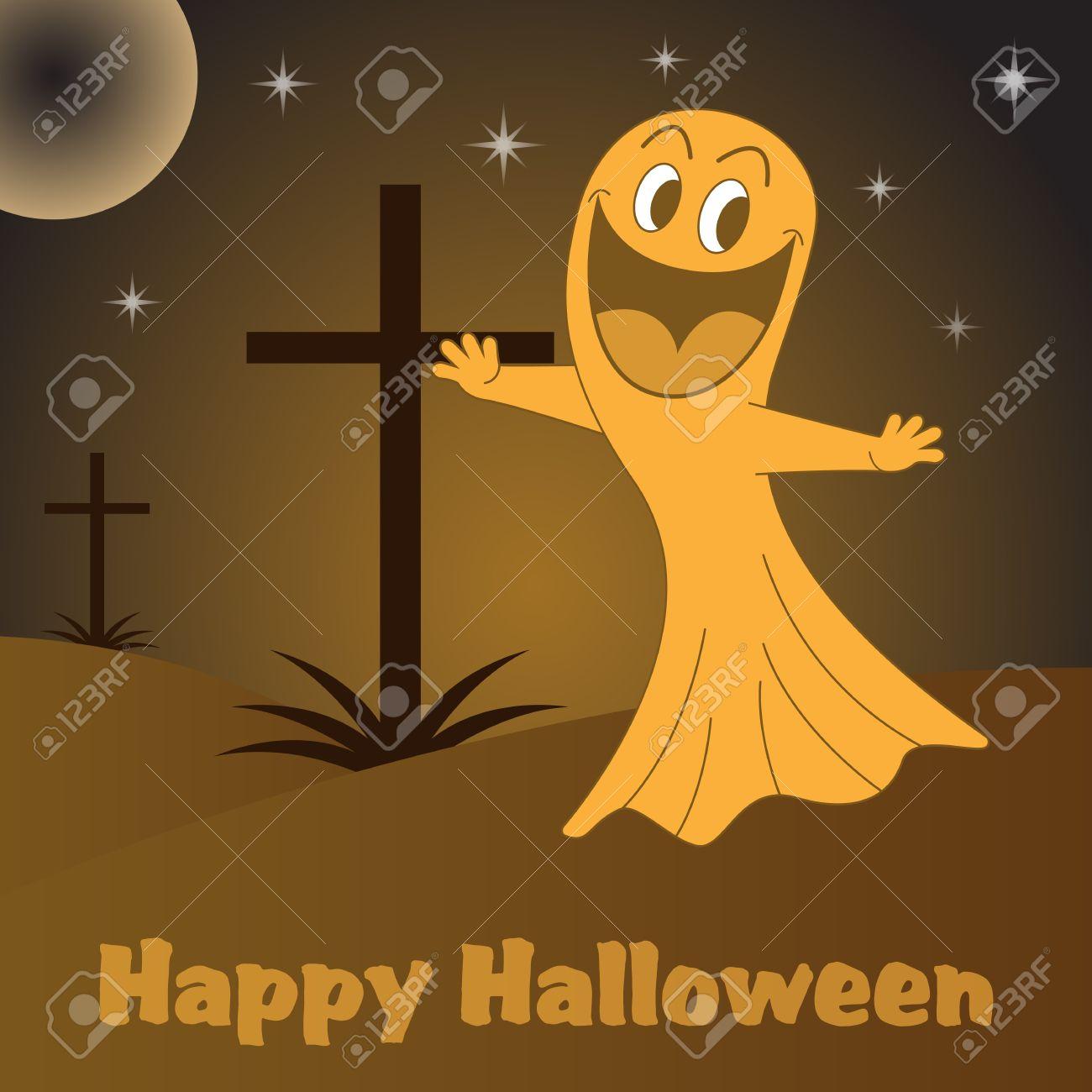 Personnage De Dessin Animé De Fantôme De Halloween Dans Un Cimetière Avec Traverse La Nuit