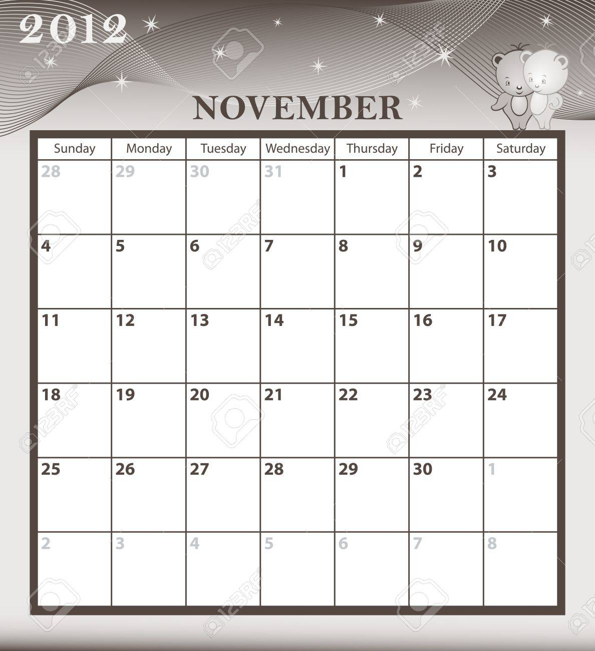 Calendar 2012 November month with large date boxes. Cartoon characters and patterned background. Stock Vector - 10262729
