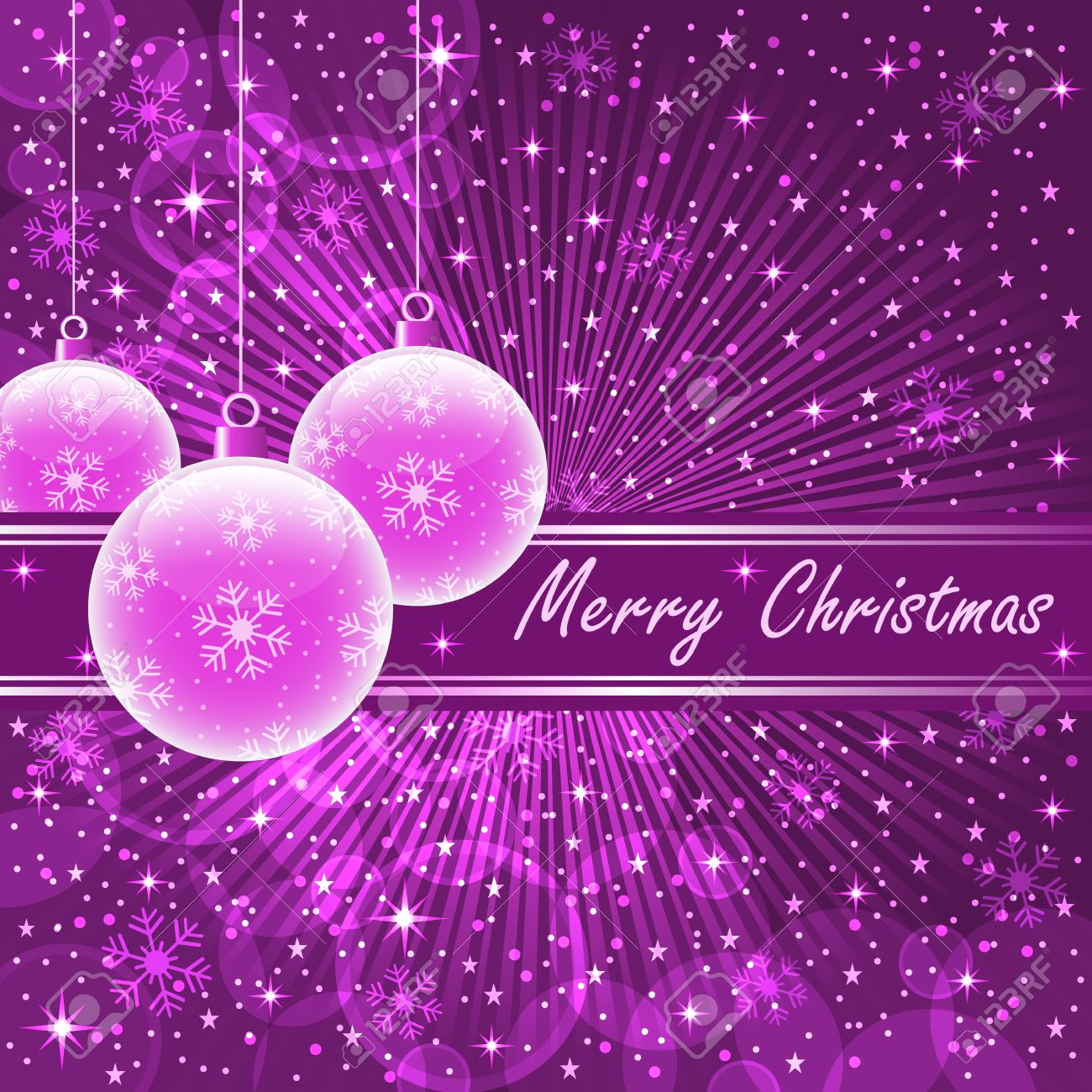 Christmas balls in translucent pink on purple sunburst background, snowflakes, bubbles, stars and snow. Stock Vector - 10597027