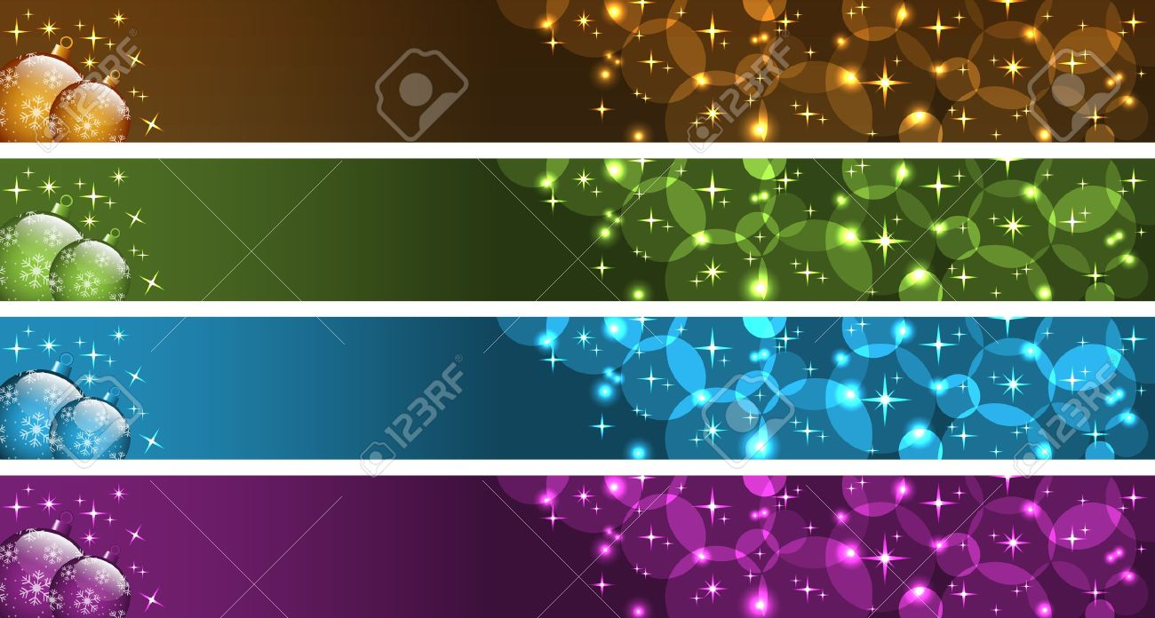 Christmas banners with xmas balls, stars and bubbles. Gold, green, blue and purple. Copy space for text. Stock Vector - 10684450