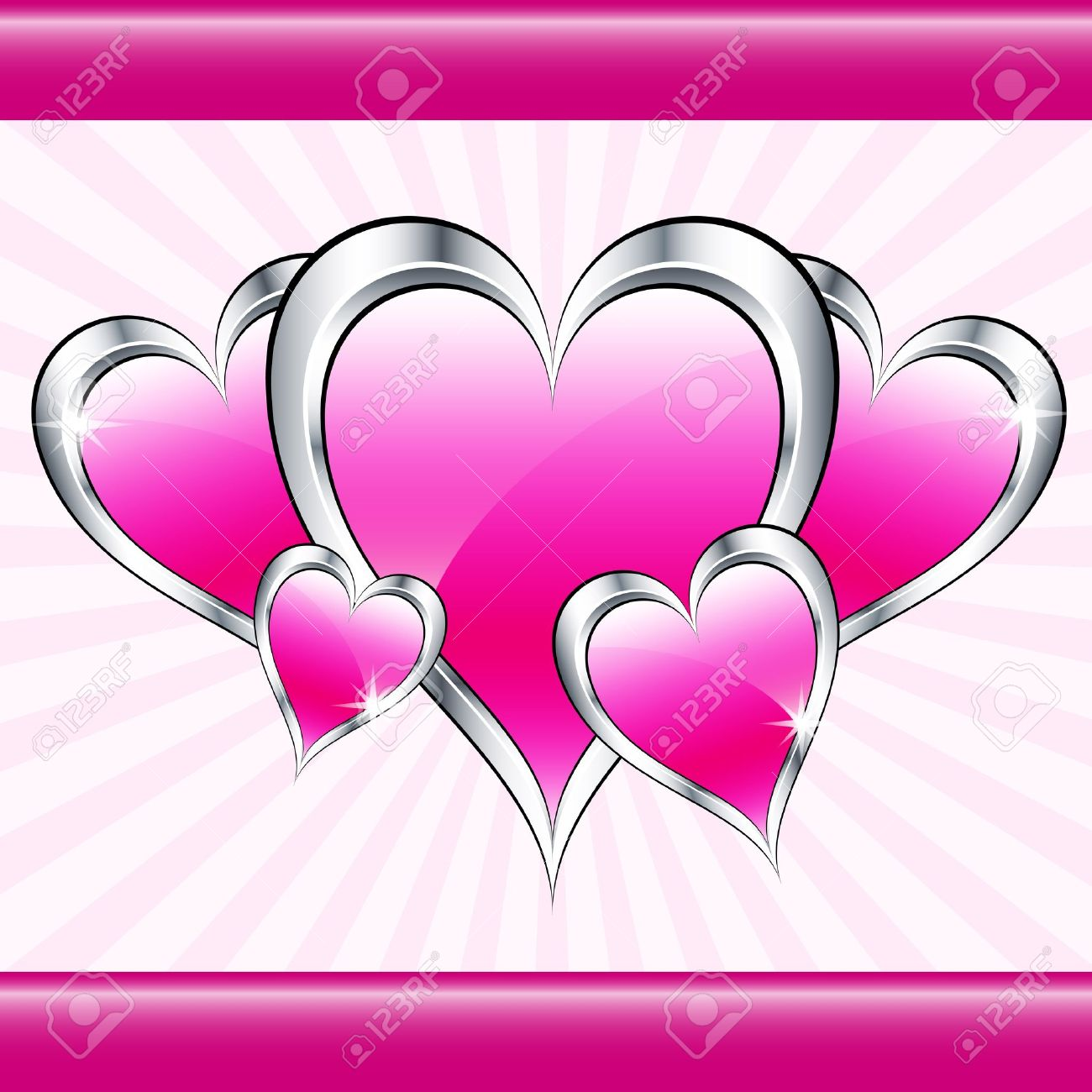 pink love hearts symbolizing valentines day mothers day or wedding