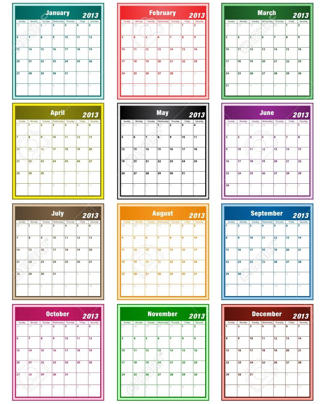 Calendar 2013 in assorted colors with large date boxes. Each month a different color. Stock Vector - 14906154
