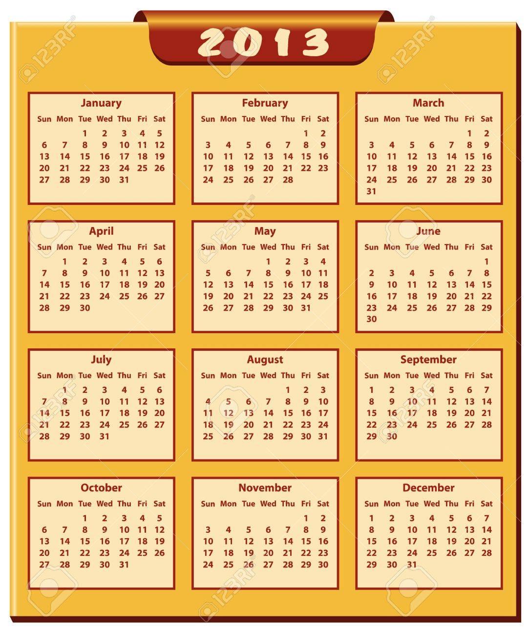 Calendario 2013 Año De Enero Al Mes De Diciembre Ilustraciones Vectoriales Clip Art Vectorizado Libre De Derechos Image 15701038