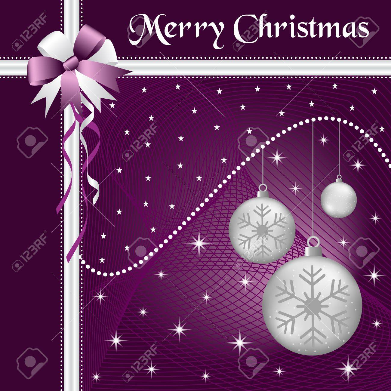 Silver christmas balls with purple and silver bow and ribbon, decorated with stars on a purple glowing background. Stock Vector - 15783796