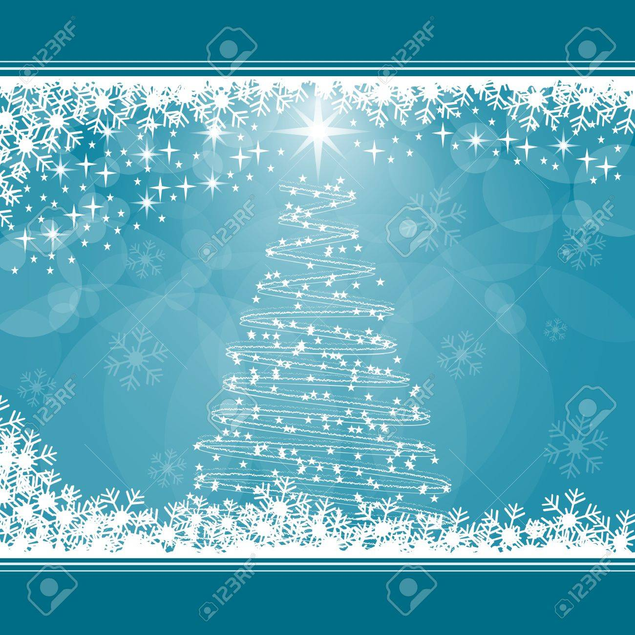 Christmas tree, snowflakes and stars on blue background. Copy space for text. Stock Vector - 15783797