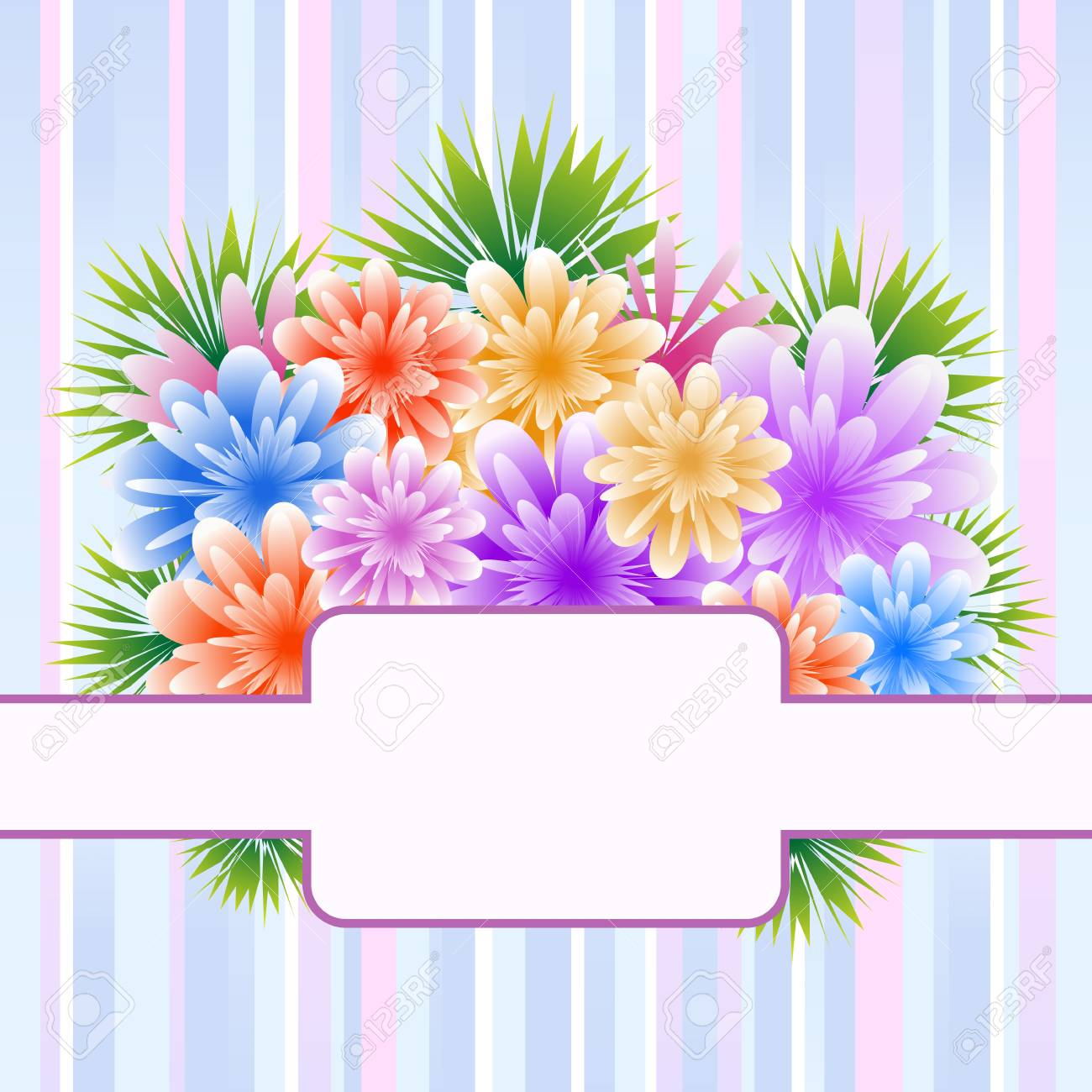 Flowers for mothers day, anniversary or birthday celebration set on a striped background. Copy space for text. Stock Vector - 16367364