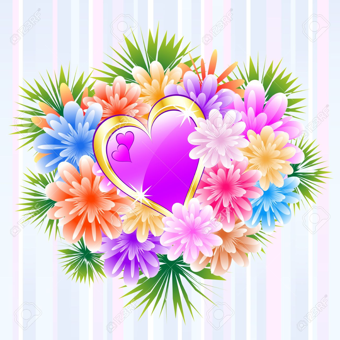 Flower Bouquet And Purple Love Heart On A Striped Background ...