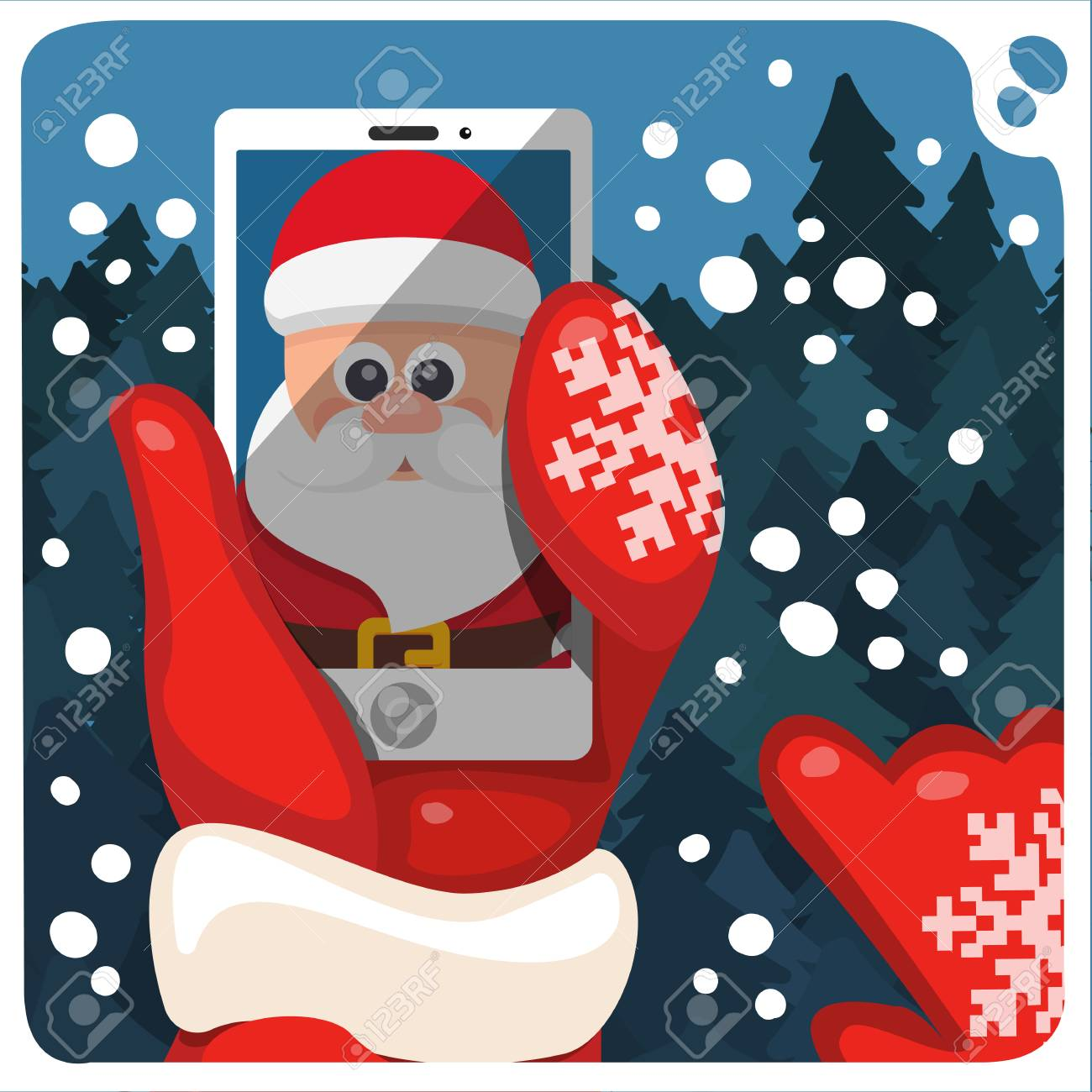 Christmas Illustration With Santas Hands Selfie And Mobile Phone Royalty Free Cliparts Vectors And Stock Illustration Image 66279138