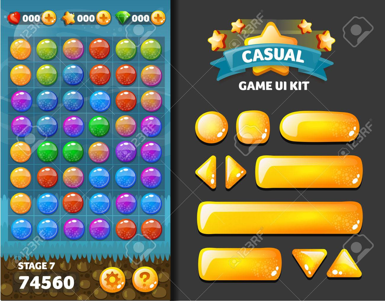 background and buttons for mobile game development, ui design