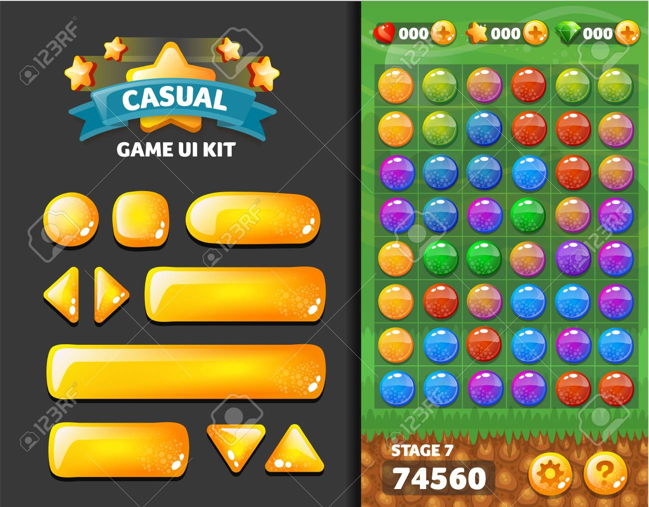 set of buttons for mobile development, casual games, UI kit