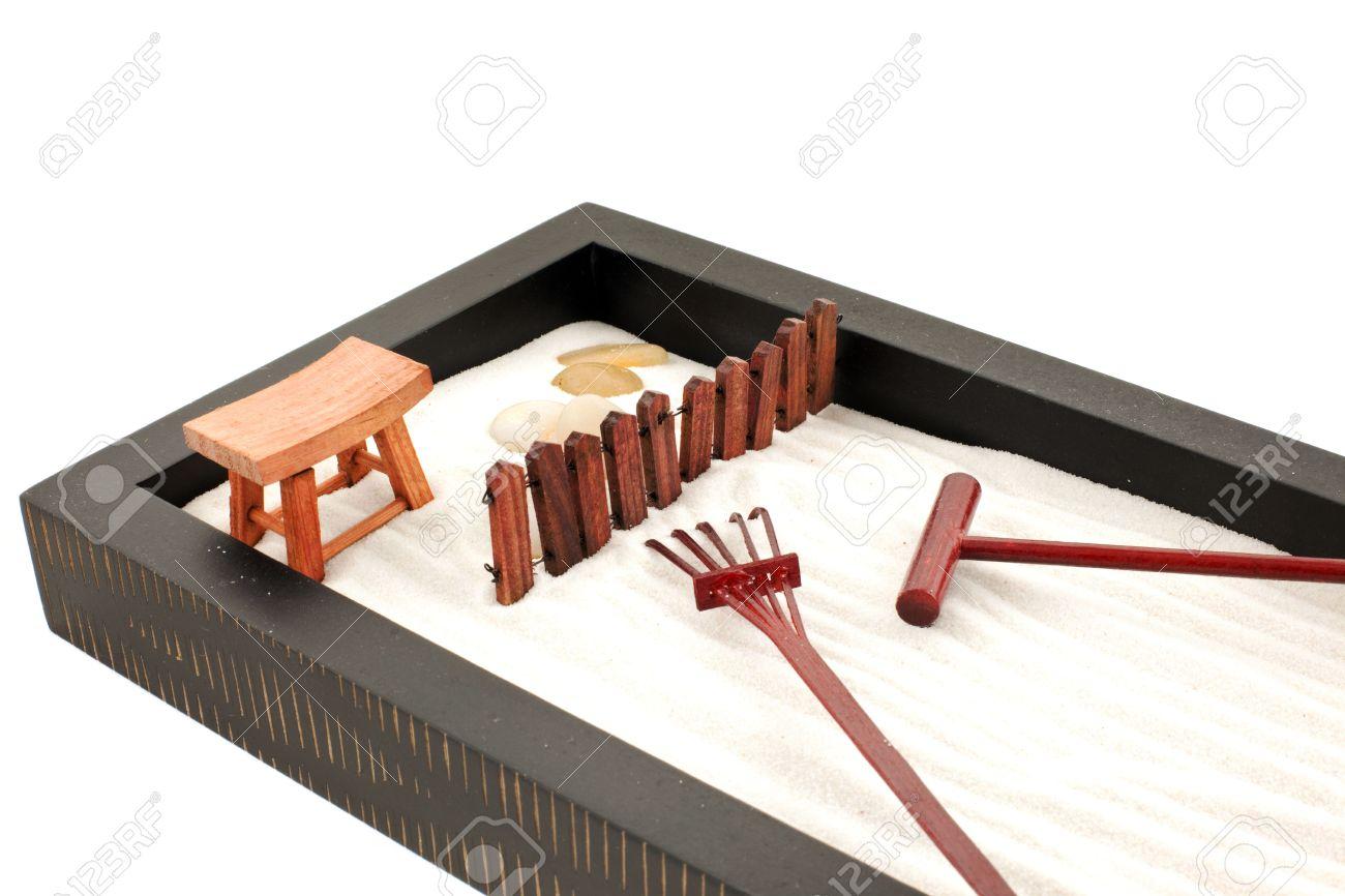 Mini Zen Garden With White Sand, Stones And Wood Rakes Stock Photo   5468459