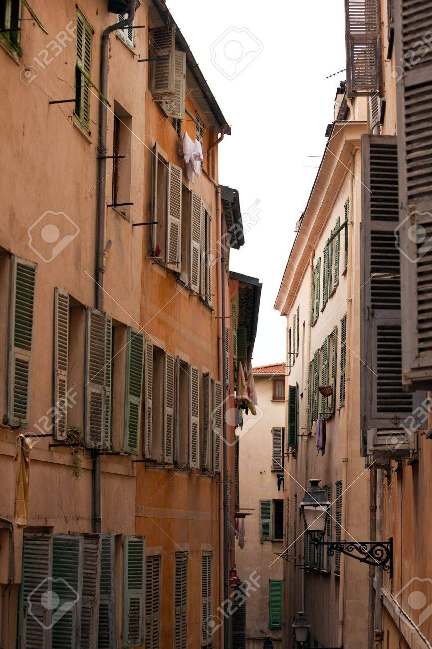 Old street of french town Nice. vertical shot Stock Photo - 7747304