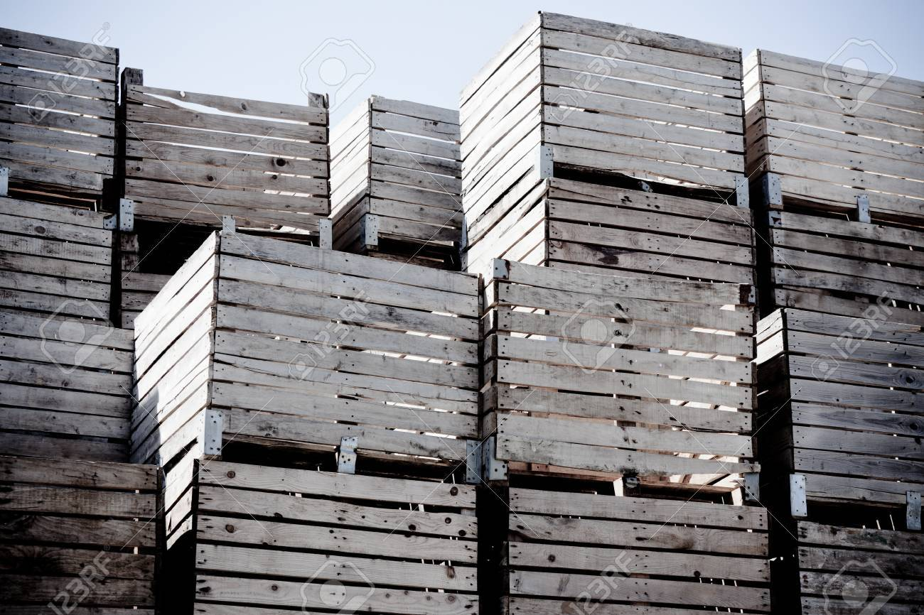 Grunge Crates Stack Weathered Wooden Boxes In Tall Rows Horizontal