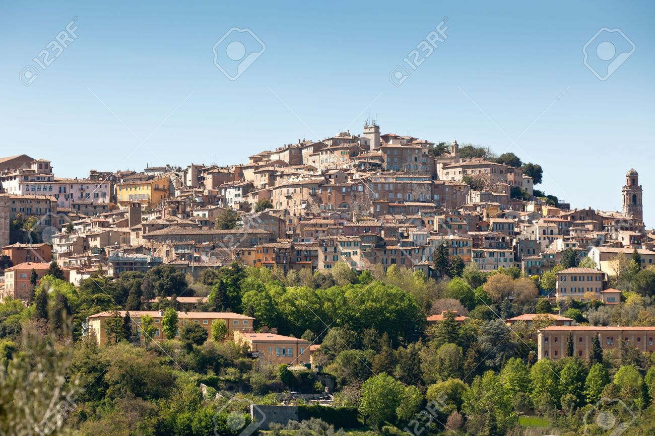 Overview of Perugia landscape, Italy. Horizontal shot Stock Photo - 14357482