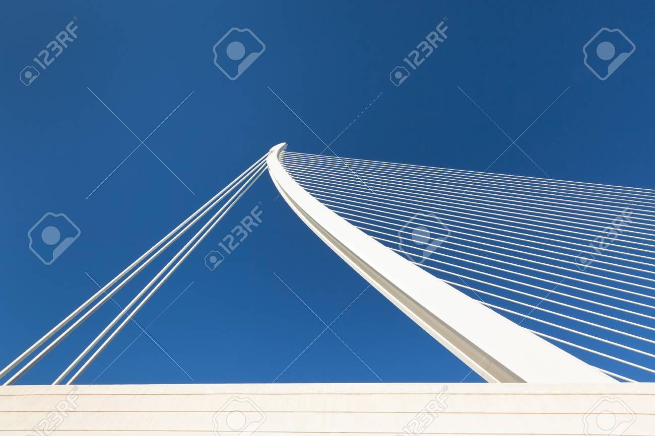 Modern bridge fragment: white against bright blue Stock Photo - 14690355