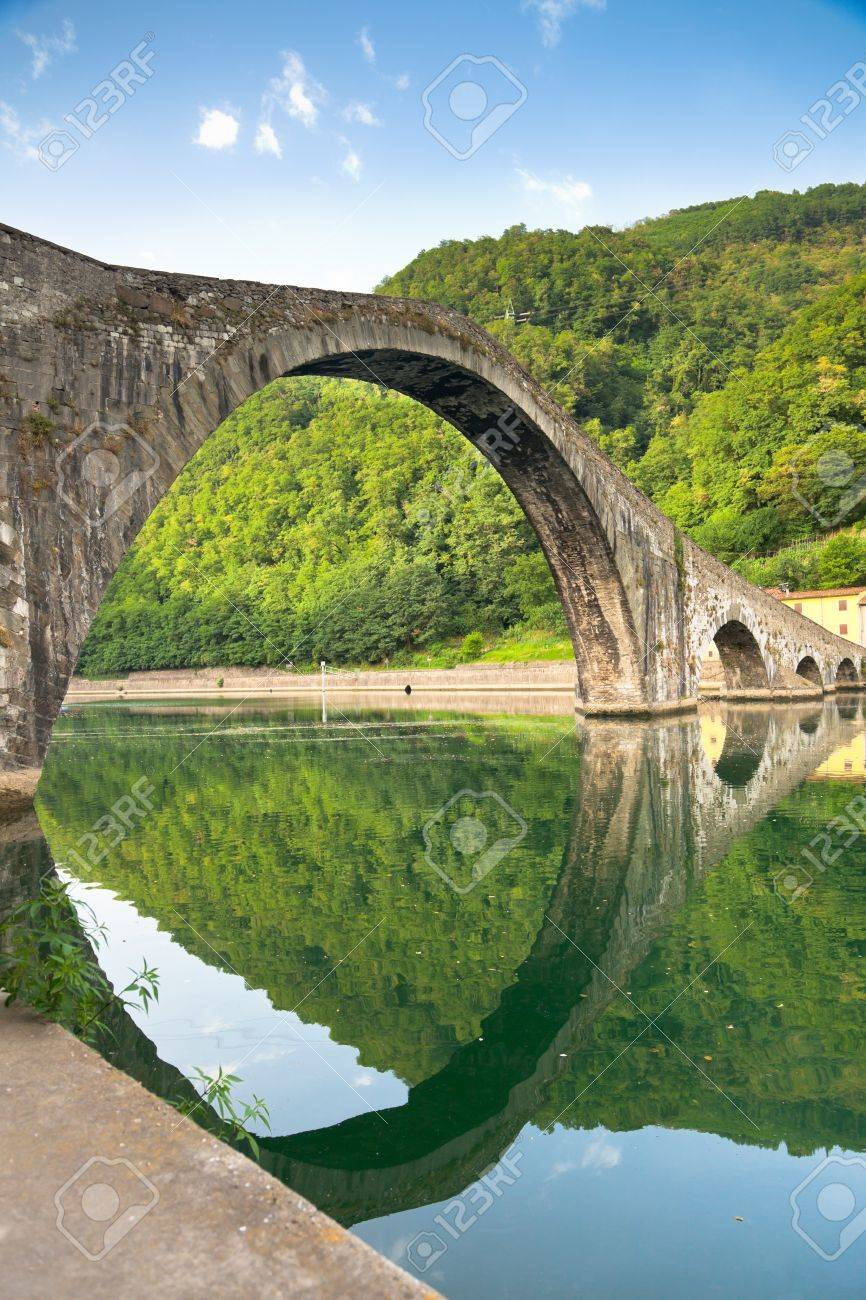 Maddalena Bridge At Bagni Di Lucca, Tuscany, Italy. Also Known ...