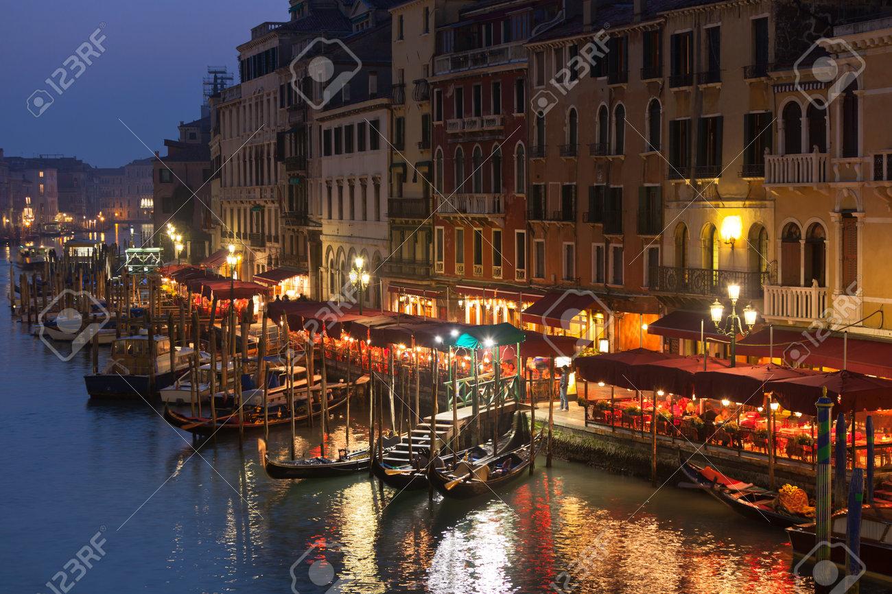 Grand Canal Lights at Night, Venice. Horizontal shot Stock Photo - 16376135