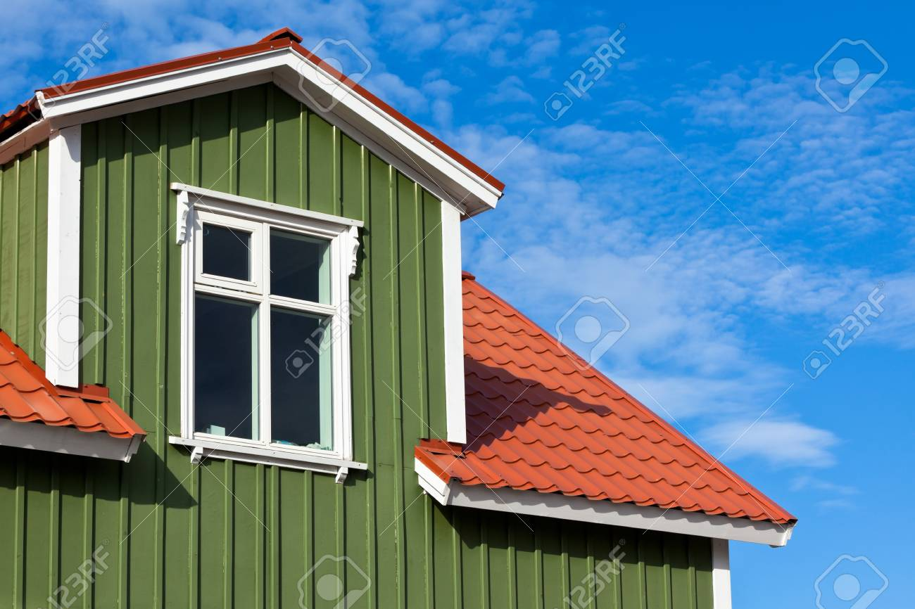 Residential Roof Top under the Bright Blue Sky. Copyspace Stock Photo - 16679610