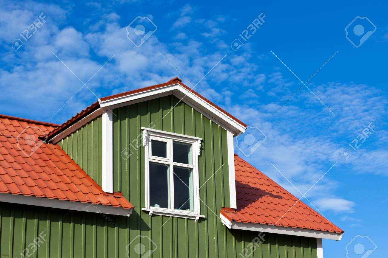 Residential Roof Top under the Bright Blue Sky. Copyspace Stock Photo - 16928287