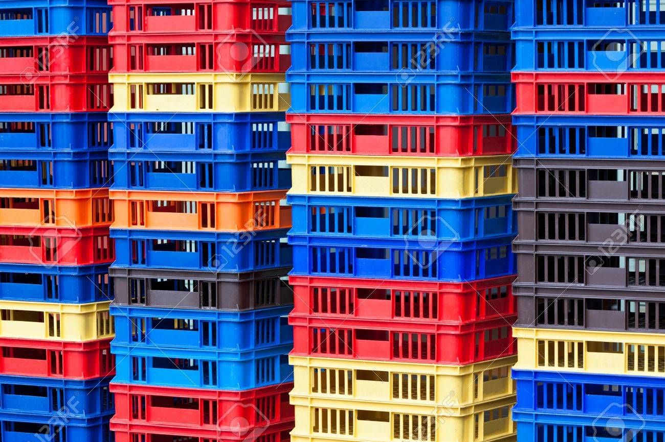 Bright Color Plastic Containers Piles. Horizontal shot Stock Photo - 17546900