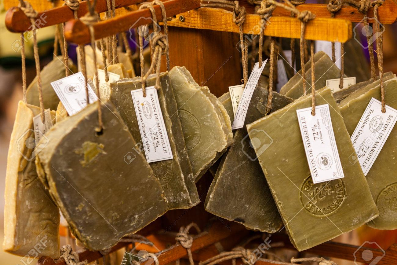 FRANCE, VAISON LA ROMAINE - AUGUST 06: Handmade soap in a beauty