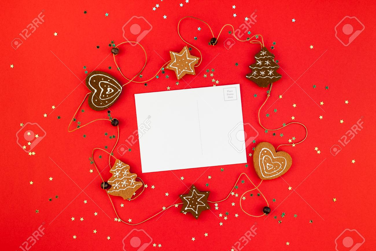 Creative New Year Or Christmas Greetings Letter Mockup Flat Lay Top