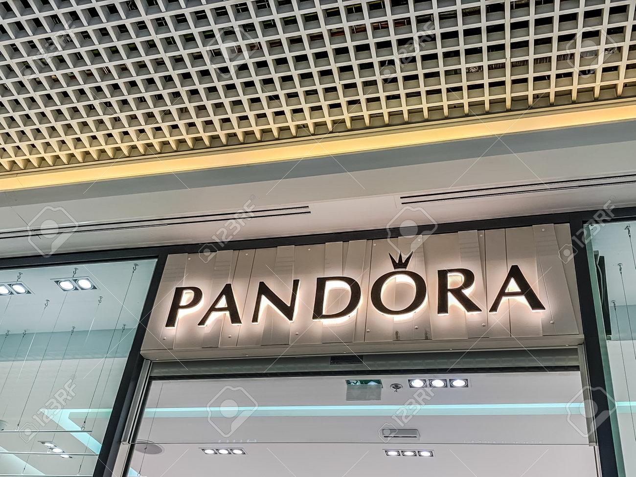 LYON, FRANCE - FEBRUARY 27, 2019: Pandora store of chain of fashion..
