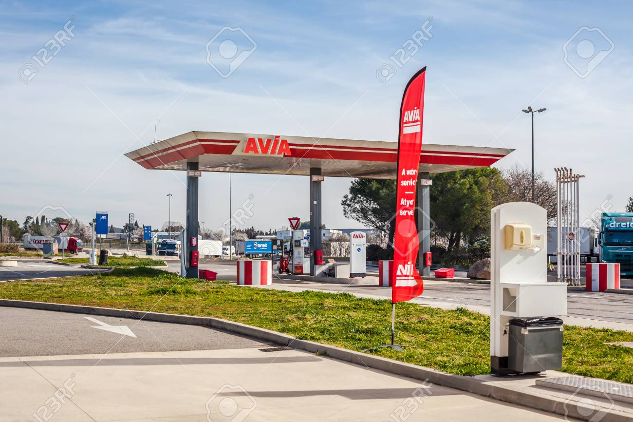 LYON, FRANCE - FEBRUARY 26, 2019: AVIA, Swiss oil and gas company