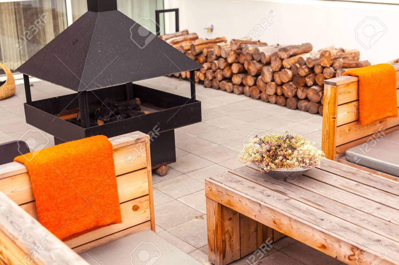 Outdoor Restaurant Terrace With Wooden Furniture In Scandinavian Stock Photo Picture And Royalty Free Image Image 127801677