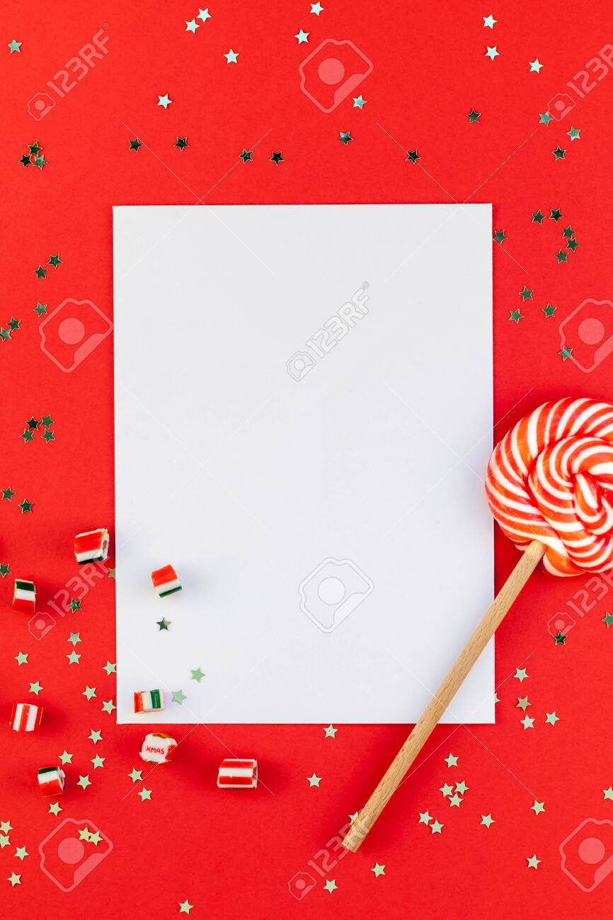 Christmas Greetings Letter.Creative New Year Or Christmas Greetings Letter Mockup Flat Lay