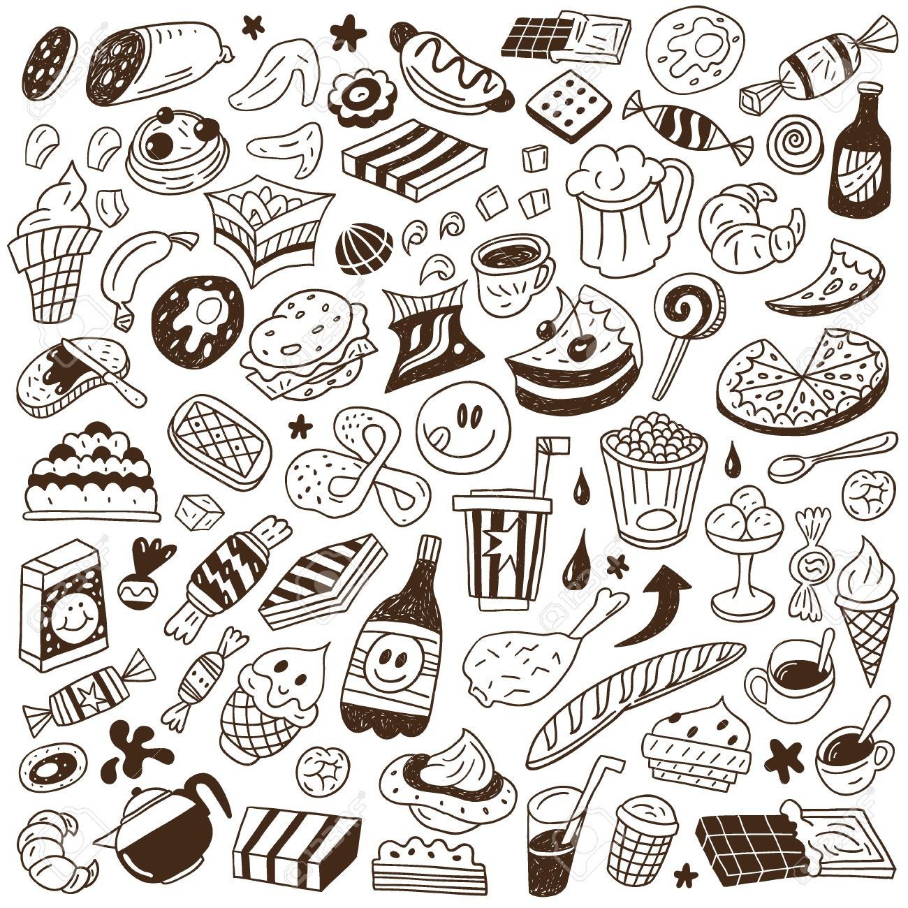 Fast Food Doodles Set Royalty Free Cliparts Vectors And Stock