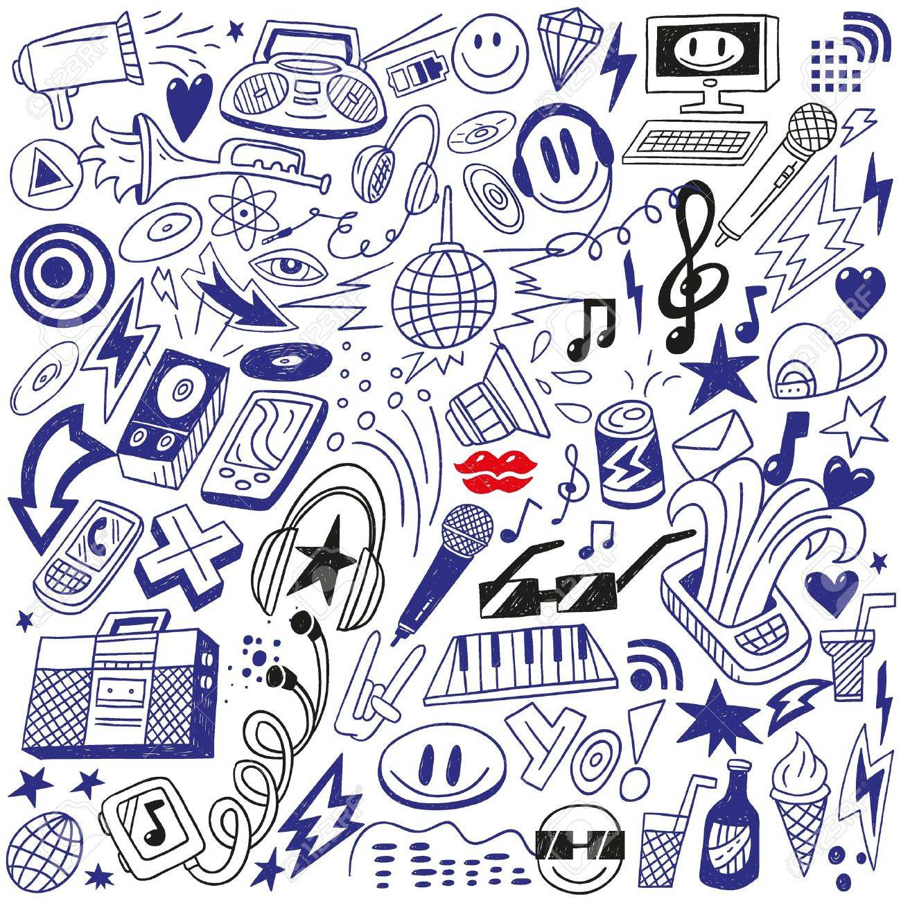 music party - doodles set Stock Vector - 18574848